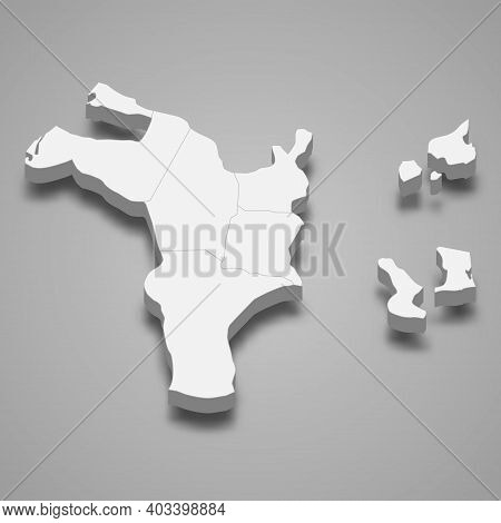 3d Isometric Map Of Sharjah Is A Emirate Of United Arab Emirates, Vector Illustration