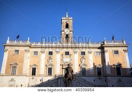 Palazzo Senatorio and Statue of Marcus Aurelius at Capitoline Hill. Roma (Rome), Italy