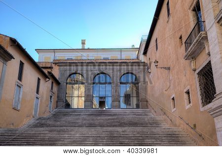 Ladder in Palazzo Senatorio at Capitoline Hill. Roma (Rome), Italy