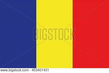 National Flag Of The Country Of Romania. Romanian Flag. Romanian State Symbol. The Currency Of Roman