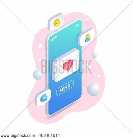 Send Love Phone Message Isometric Concept. Valentine Card With Heart E-mail, Envelope And Button Sen