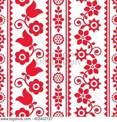 Polish Traditional Folk Art Vector Seamless Textile Or Fabric Print Pattern In Red And White, Floral