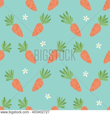 Carrot Seamless Pattern. Happy Easter. Carrots For Easter Bunny. Vector Seamless Texture With A Lot