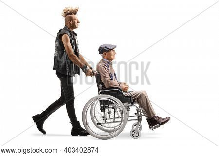 Punk pushing a disabled elderly man in a wheelchair isolated on white background
