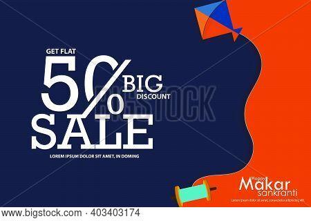 Happy Makar Sankranti Festival Background Template Design With Kites, 50% Discounts