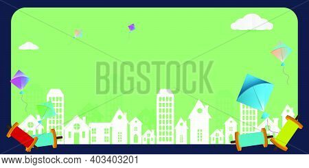 Vector Illustration Of Happy Makar Sankranti Background With Colorful Kite Fly