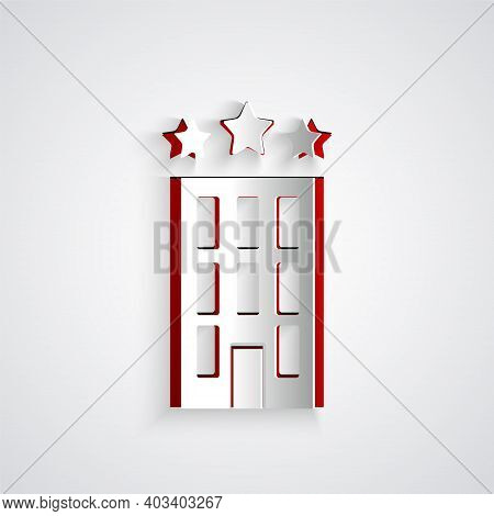Paper Cut Hotel Building Icon Isolated On Grey Background. Paper Art Style. Vector