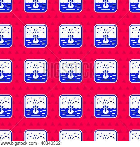 Blue Automatic Irrigation Sprinklers Icon Isolated Seamless Pattern On Red Background. Watering Equi