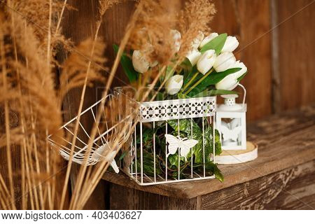 Beautifully Decorated Farmhouse Look. Rustic Interior Element Of Spring Porch. Light And Bright Rura