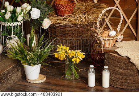 Easter Decorations In A Rustic Cozy Scandinavian Style. Beautifully Decorated Farmhouse Look. Spring