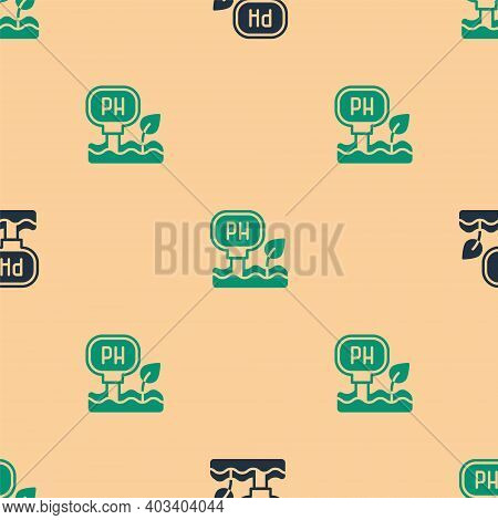 Green And Black Soil Ph Testing Icon Isolated Seamless Pattern On Beige Background. Ph Earth Test. V