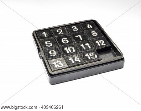 Fifteen Puzzle, A Sliding Puzzle Game. Puzzle Game Isolated On White Background.