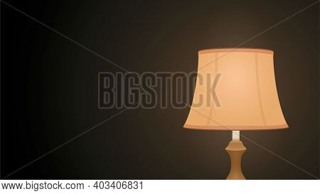 Night Light In A Dark Room On The Table. Vector Illustration Of A Lamp Shining Softly In The Dark. C