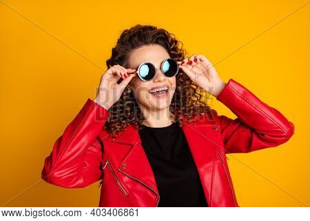 Close-up Portrait Of Her She Nice Lovely Cheerful Wavy-haired Girl Touching Round Sun Specs Isolated