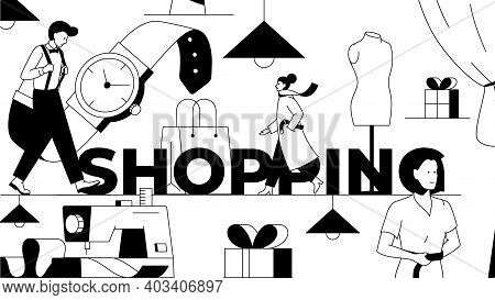 Shopping Abstract Black And White Illustration. Vector Illustration With Fashionable People And Clot