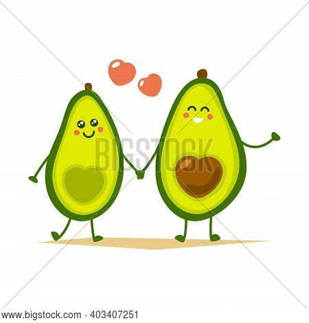 Cute Cartoon Avocado Couple Holding Hands, Valentine S Day Greeting Card. Avocado Love With Hearts V