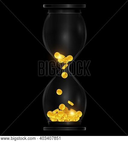 Vector Illustration Dark Background With Black Hourglass With Golden Coins