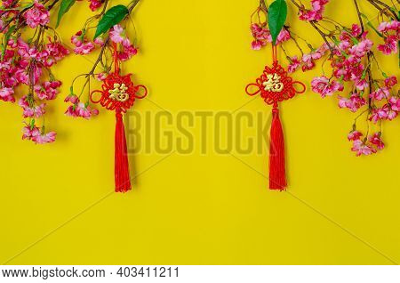 Hanging Pendants For Chinese New Year Ornament (meaning Of Chinese Word Is Wealth) With Chinese Blos