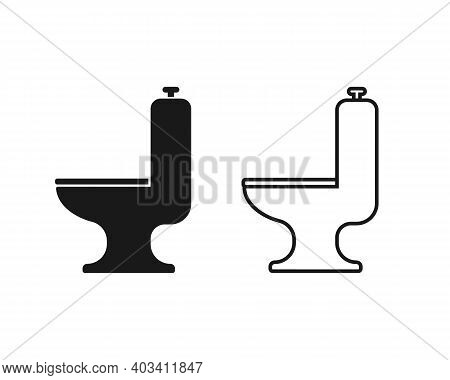 Toilet Seat Vector Icon. Lavatory And Water Closet Symbol. Bathroom Or Wc Sign. Hygiene And Sanitary