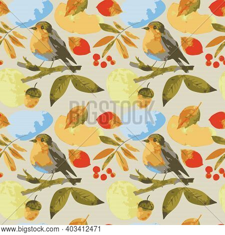 Watercolor Sketch Seamless Pattern With Bird Robin Rowan And Acorn.