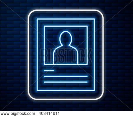 Glowing Neon Line Wanted Poster Icon Isolated On Brick Wall Background. Reward Money. Dead Or Alive