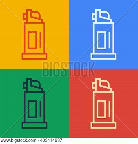 Pop Art Line Pepper Spray Icon Isolated On Color Background. Oc Gas. Capsicum Self Defense Aerosol.