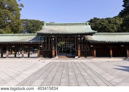 Tokyo, Japan - Feb 14,2015 : The Meiji-jingu In Tokyo, Japan On February 14,2015. The Shrine Officia