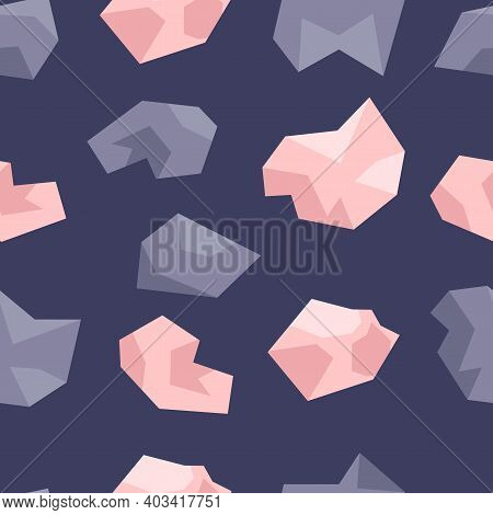 Seamless Pattern Of Pink And Lilac Crystals. Gems, Diamonds, Gems On A Dark Blue Background. Hand Dr