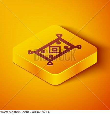 Isometric Line Magic Carpet Icon Isolated On Orange Background. Yellow Square Button. Vector