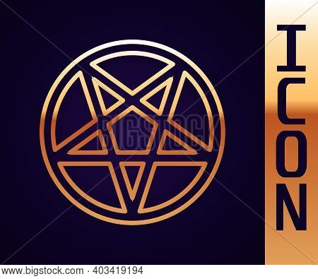 Gold Line Pentagram In A Circle Icon Isolated On Black Background. Magic Occult Star Symbol. Vector