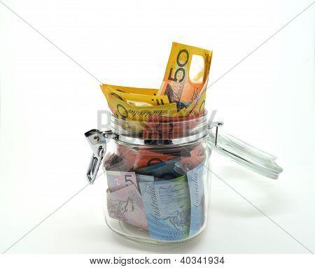 Jar of some Australian money.