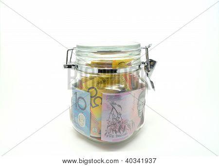 Some Australian money kept lock in the jar.