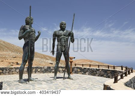 Fuerteventura, Spain - May 10, 2013. Statues Of Guanche Kings Guize And Ayose On Fuerteventura, Cana