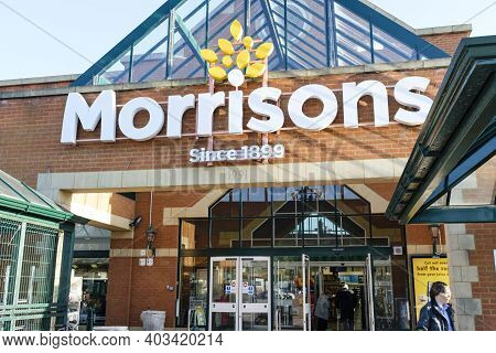 London, Uk - February 25, 2019. Shoppers Outside The Front Of A Morrisons Store In Hatch End, London