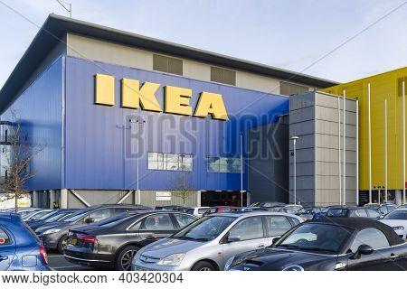 Milton Keynes, Uk - February 12, 2020. Ikea Sign On The Exterior Of An Ikea Store In Milton Keynes