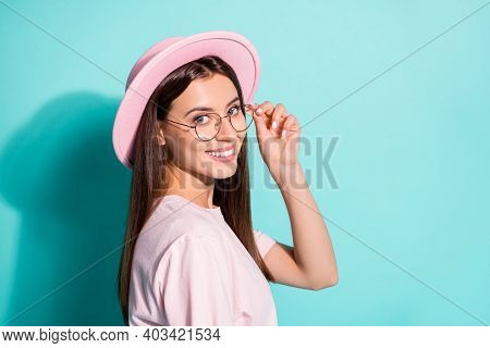 Close-up Profile Side View Portrait Of Her She Nice Attractive Cheerful Pretty Brown-haired Girl Cop