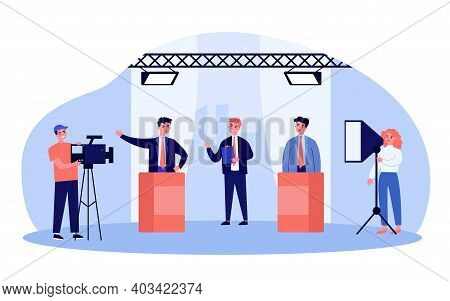 Election Candidates Arguing At Tv Show. Political Opponents, Host, Cameraman In Studio. Flat Vector