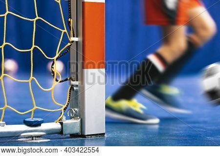 Indoor Soccer Goal - Close Up On Square Goal Post. Futsal Training For Youth Team. Young Boy With So