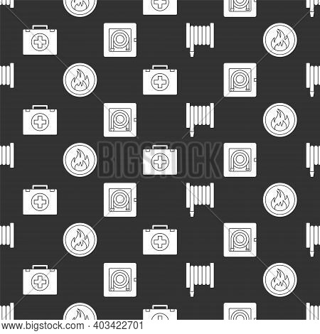 Set Fire Hose Reel, Fire Flame, First Aid Kit And Fire Hose Cabinet On Seamless Pattern. Vector