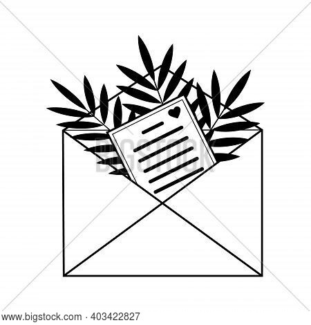 Composition Envelope With Letter Decorated With Leaves, Made Of Solid Black Outline, Monochrome Vect