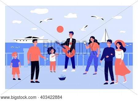 Musicians Playing Instrument And Singing On Seaside Promenade. Father And Daughter. Flat Vector Illu