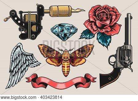 Retro Tattoo Line Art Set. Vintage Gun, Rose, Revolver, Ribbon, Diamond Clipart Vector Illustration