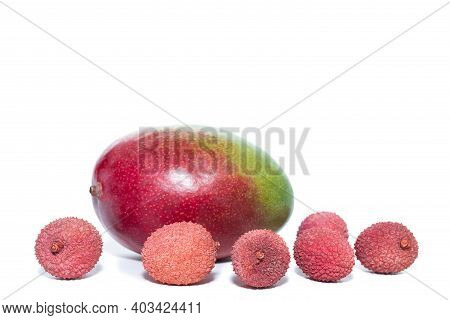 Mango And Lychee On Isolated White Background