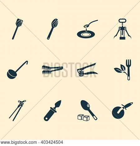 Cutlery Icons Set With Wooden Spoon, Oyster Knife, Wooden Spatula And Other Teaspoon Elements. Isola