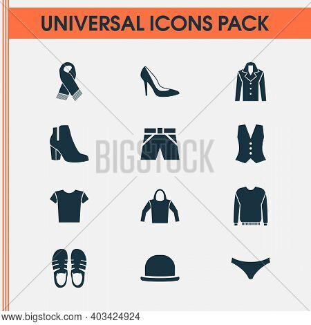 Clothes Icons Set With Vest, Knickers, Woman Shoe And Other Neckerchief Elements. Isolated Vector Il