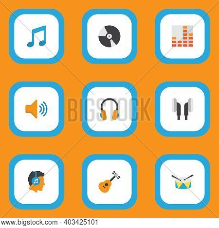 Multimedia Icons Flat Style Set With Guitar, Frequency, Compact Disk And Other Male Elements. Isolat