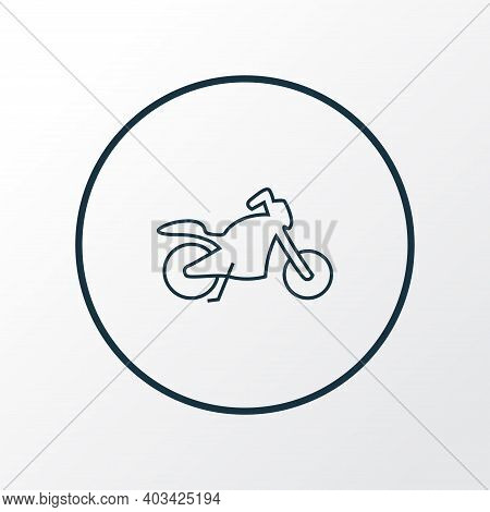 Motorcycle Icon Line Symbol. Premium Quality Isolated Motorbike Element In Trendy Style.