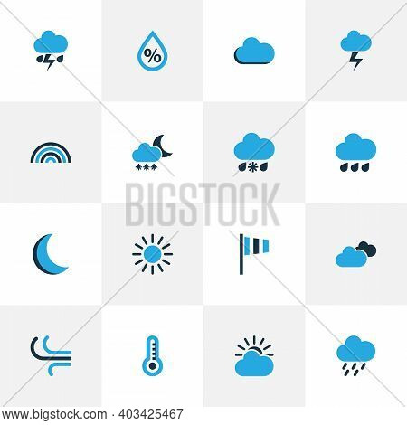 Weather Icons Colored Set With Moon, Snowfall, Drizzle And Other Thunderstorm Elements. Isolated Vec