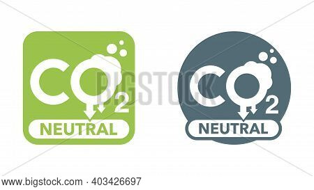Co2 Neutral Emblem, Net Zero Carbon Footprint - Carbon Emissions Free No Air Atmosphere Pollution In