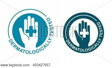 Dermatologically Tested Stamp - Human Hand With Medical Cross - Quality Testing Proven Emblem For Co